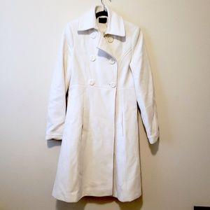 Via Winter White Wool Long Double Breasted Coat